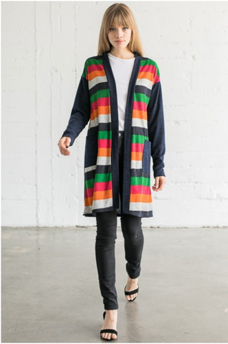 Front Stipe Long Cardigan S Navy