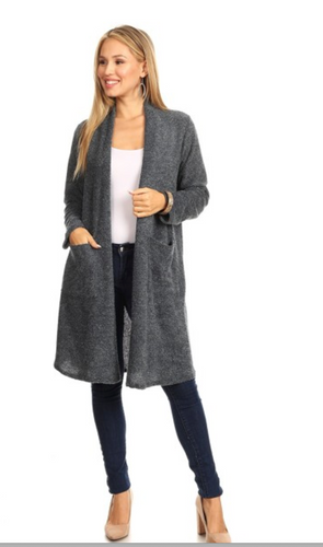 Long Gray Cardigan w/ Pocket