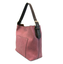 Load image into Gallery viewer, Dark Raspberry w/Brown Handle Bag