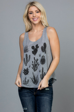 Load image into Gallery viewer, Grey Cactus Print Tank Top Small