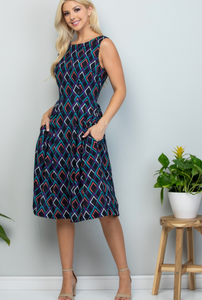 Navy Blue Geometric Midi Dress Small