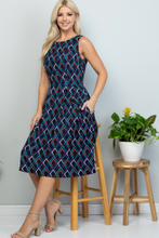 Load image into Gallery viewer, Navy Blue Geometric Midi Dress