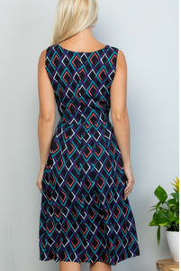 Navy Blue Geometric Midi Dress