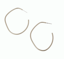 Load image into Gallery viewer, Irregular Hoop w/ Post Earring Silver