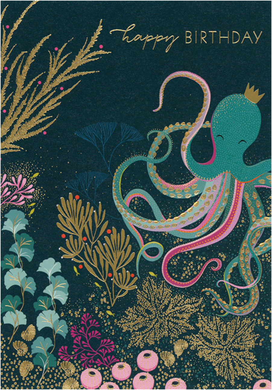 Navy Octopus Birthday Card