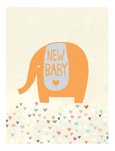Gold Elephant - New Baby Card
