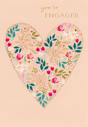Pink Floral Heart, You're Engaged Card