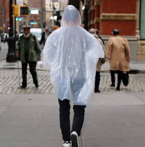 Asst Rainbow Rain Ponchos in CDU White