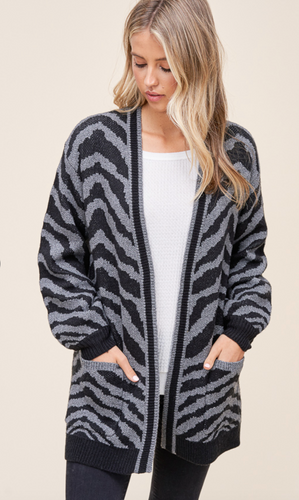 Zebra Print Cardigan-Gray/Black