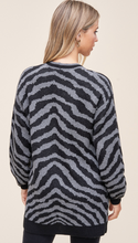 Load image into Gallery viewer, Zebra Print Cardigan-Gray/Black