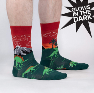 Dinosaur Days - Mens Glowing Crew Socks
