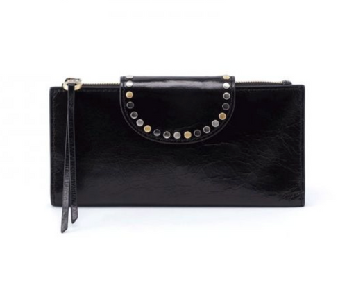 Black Elsa Studded Leather Wallet