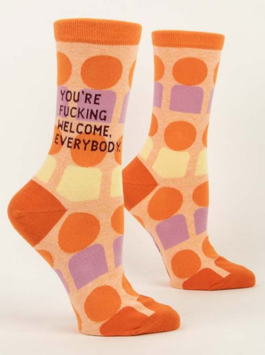 You're Fucking Welcome Womens Crew Socks