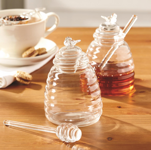 Glass Honey Pot w/Dipping Stick