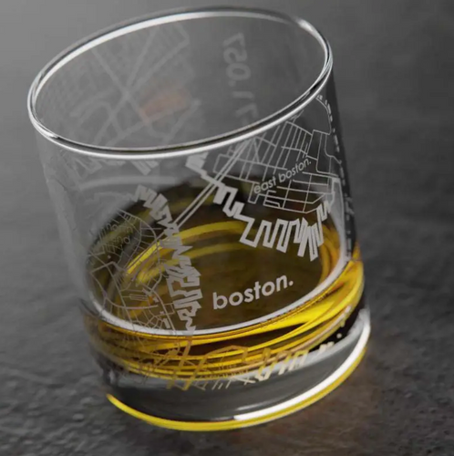 Boston Map Rocks Whiskey Glass