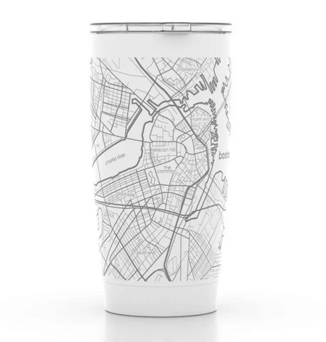 Boston Map White Insulated Tumbler