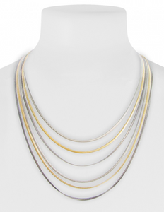 Short Layered Chain Necklace Gold Mix