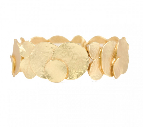 Textured Metal Disc Bracelet Gold
