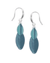 Load image into Gallery viewer, Layered Leaf Painted Earrings Blue