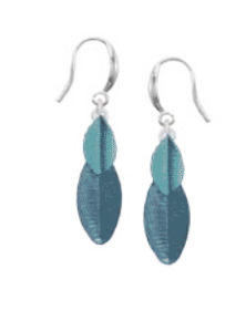 Layered Leaf Painted Earrings Blue