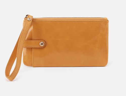 Mustard King Leather Wristlet