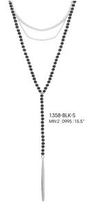Beaded Layer Chain Pendant Grey