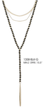 Load image into Gallery viewer, Beaded Layer Chain Pendant Black and Sil