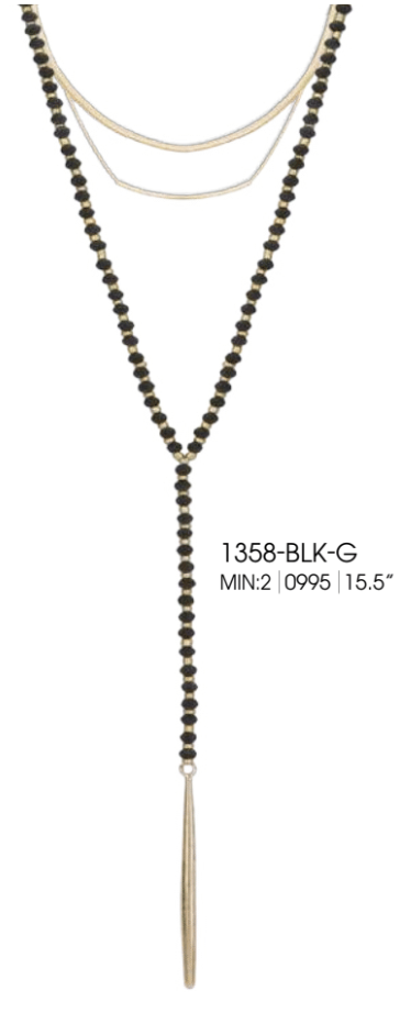 Beaded Layer Chain Pendant Black and Sil