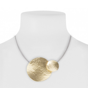 Layered Metal Disc Cable Necklace Gold