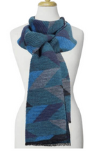 Load image into Gallery viewer, Large Ripple Geo Pattern Scarf Blue