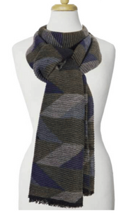 Large Ripple Geo Pattern Scarf Olive