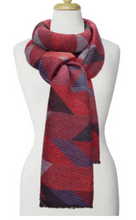 Load image into Gallery viewer, Large Ripple Geo Pattern Scarf Red