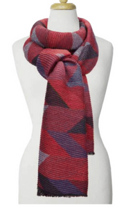 Large Ripple Geo Pattern Scarf Red