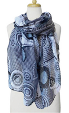 Load image into Gallery viewer, Lightweight Round Print Scarf Blue