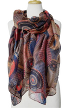 Load image into Gallery viewer, Lightweight Round Print Scarf Red