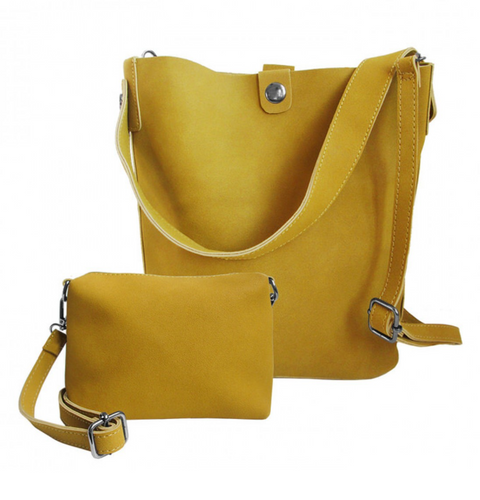 Suede Tote with Inside Pouch Mustard