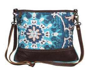 Teal Canvas Leather Small Crossbody