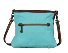 Load image into Gallery viewer, Teal Canvas Leather Small Crossbody