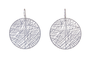 Silver Circle Lazer Etch Earrings