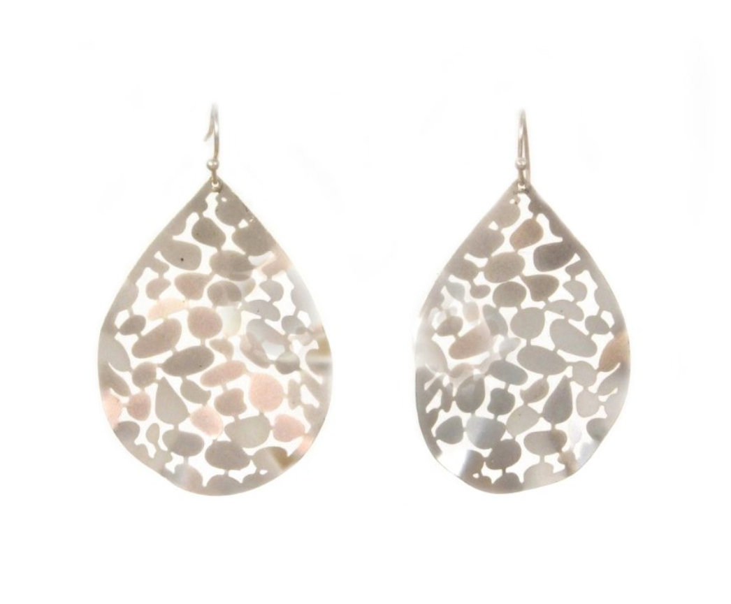 Metal Teardrop Earring Silver