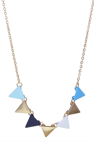 Multi Blue Triangle Necklace