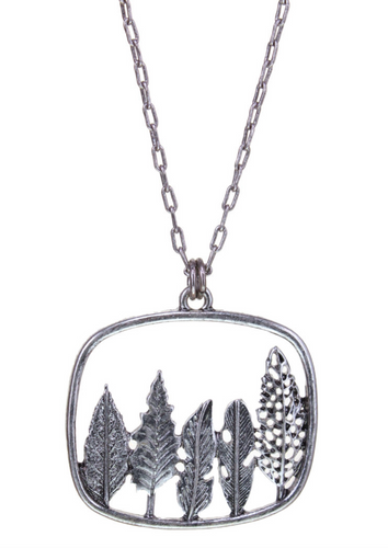Silver 5 Leaf Pendant Necklace