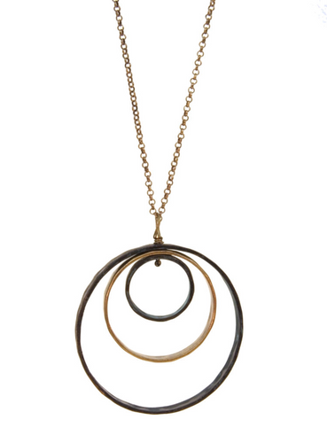 Patina Triple Large Circle Necklace