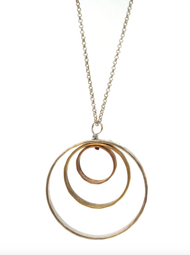 Mixed Metal Triple Large Circle Necklace