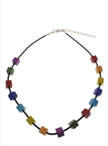Multi Color Cube Rubber Necklace