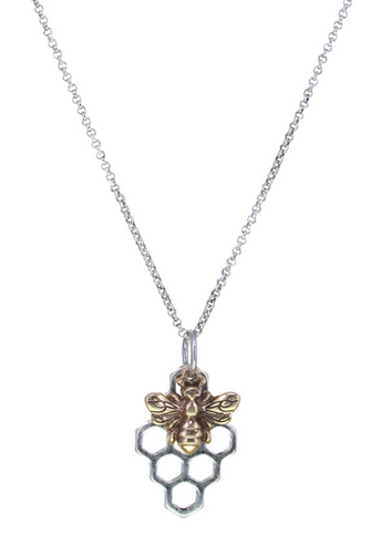 Bee & Honey Comb Pendant Necklace