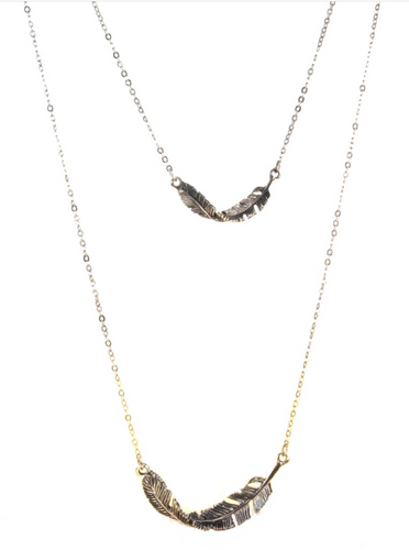 Silver Two Layer Feather Necklace