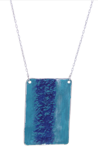Blue Patina Patina Rectangle Pendant