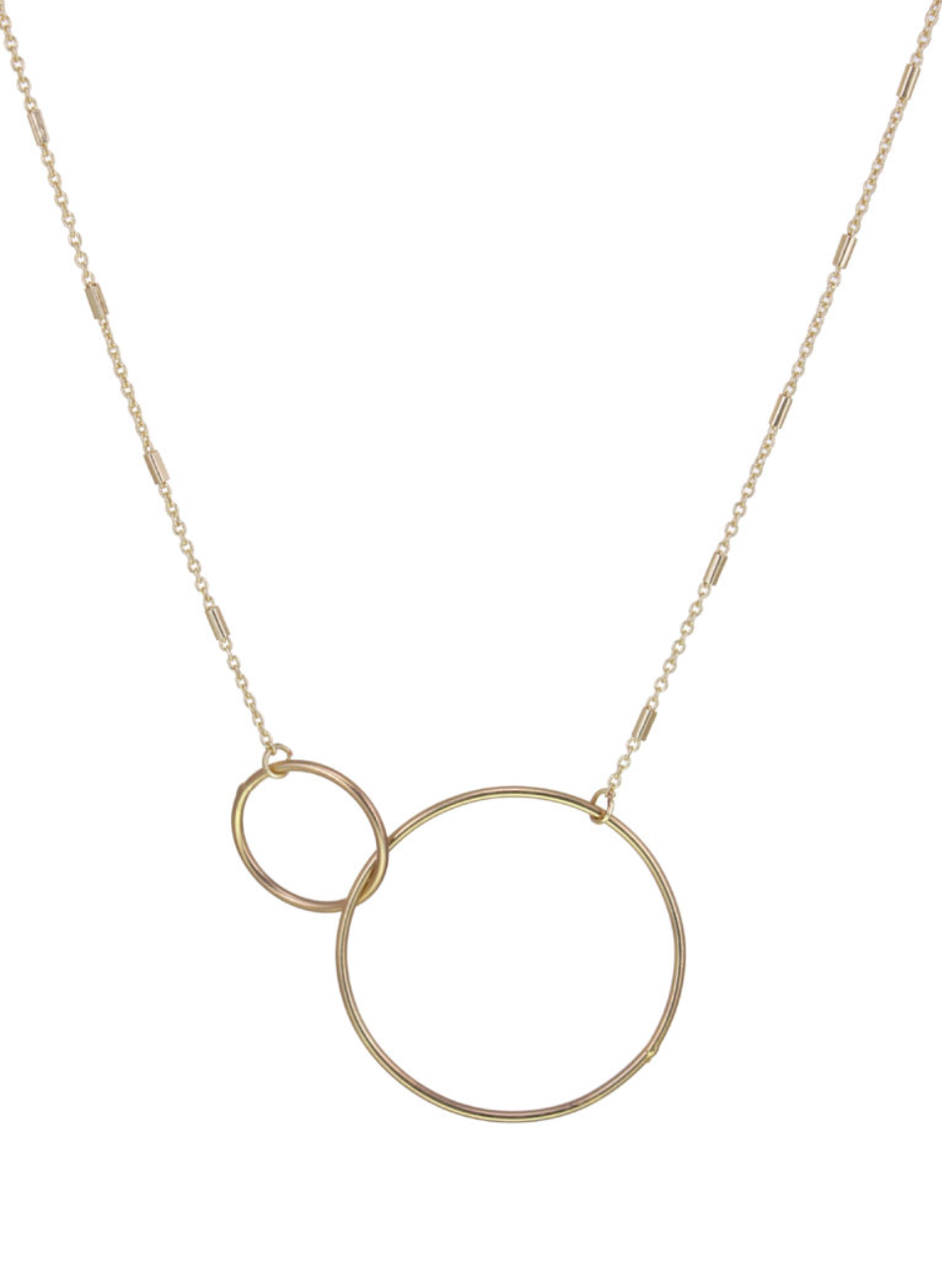 Gold Interlocking Rings Necklace