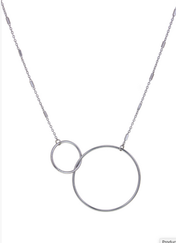 Silver Interlocking Rings Necklace